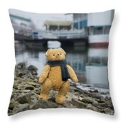Cheerful Teddy Bear In Knitted Scarf Stand By The Riverside Beside The Port Throw Pillow