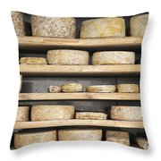 Cheese Wheels On Wooden Shelves In The Cheese Store Throw Pillow