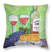 Cheese Wine And Grapes Throw Pillow