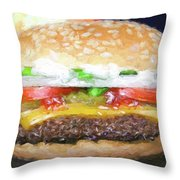 Cheeseburger Deluxe Throw Pillow