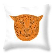Cheetah Head Drawing Throw Pillow