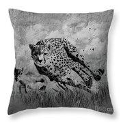 Cheetah Hunting Deer  Throw Pillow