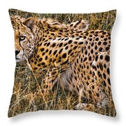 Cheetah In The Grass Throw Pillow