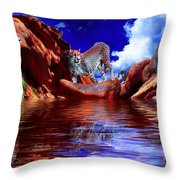 Cheetah Lake Throw Pillow