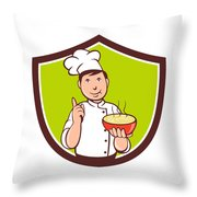 Chef Cook Bowl Pointing Crest Cartoon Throw Pillow