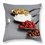 Chef Discussing Cooking Recipes Throw Pillow by Paul Ge