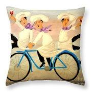 Chefs On A Bike Throw Pillow