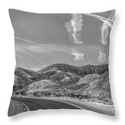 Chem Trails Over Valley Of Fire Black White  Throw Pillow