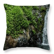 Chemisal Falls At Vichy Springs In Ukiah In Mendocino County, California Throw Pillow