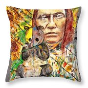 Cherokee Chief With Friend Mr.p Throw Pillow