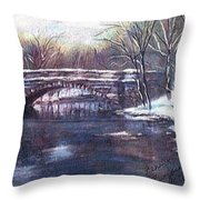 Cherokee Park Bridge Throw Pillow