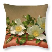 Cherokee Roses Throw Pillow by Martin Johnson Heade