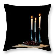 Cherries And Candles In Steel Throw Pillow