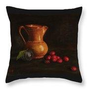 Cherries And Plum Throw Pillow