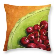 Cherries Green Plate Throw Pillow