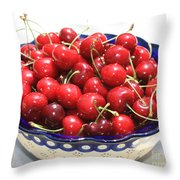Cherries In Blue Bowl Throw Pillow