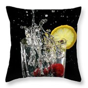 Cherries Splashing Into Sparkling Water Glass With Lemon Slice O Throw Pillow