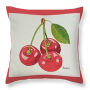 Cherry Times Three Throw Pillow