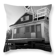 Cherry Beach Boat House Throw Pillow