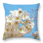 Cherry Blossom And A Bee Throw Pillow