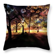 Cherry Blossom At Night Throw Pillow