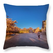 Cherry Blossom At The Mlk Monument Throw Pillow