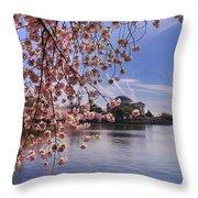 Cherry Blossom Over Tidal Basin Throw Pillow
