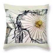 Cherry Blossom Parasol  Throw Pillow