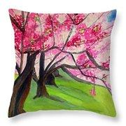 Cherry Blossom Sakura Throw Pillow