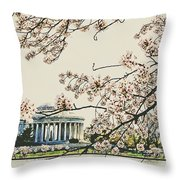 Cherry Blossom Tidalbasin View Throw Pillow