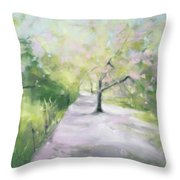 Cherry Blossom Tree Central Park Bridle Path Throw Pillow