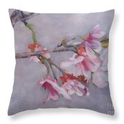 Japanese Cherry Blossom Tree Throw Pillow