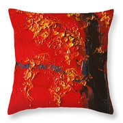 Cherry Blossom Tree - Red Yellow Throw Pillow
