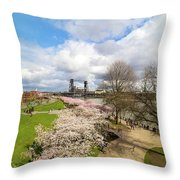 Cherry Blossom Trees At Portland Waterfront Throw Pillow