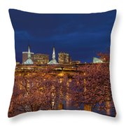 Cherry Blossom Trees At Portland Waterfront During Blue Hour Throw Pillow