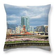 Cherry Blossom Trees At Portland Waterfront Park Throw Pillow