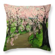 Cherry Blossom Walk Throw Pillow