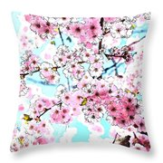 Cherry Blossom Watercolor Throw Pillow