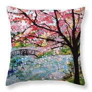 Cherry Blossoms And Bridge 3 201730 Throw Pillow