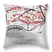 Cherry Blossoms And Bridge II Meadowlark Botanic Gardens 201729  Throw Pillow