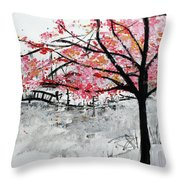 Cherry Blossoms And Bridge Meadowlark Botanical Gardens 201728 Throw Pillow