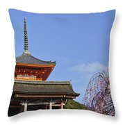 Cherry Blossoms And Kiyomizu-dera Throw Pillow
