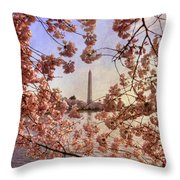 Cherry Blossoms And The Washington Monument Throw Pillow by Lois Bryan