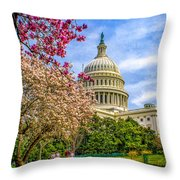 Cherry Blossoms At The Capitol Throw Pillow