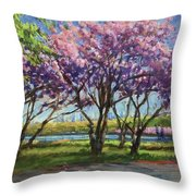 Cherry Blossoms, Central Park Throw Pillow