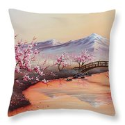 Cherry Blossoms In The Mist - Revisited Throw Pillow