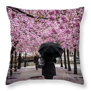 Cherry Blossoms In The Rain Throw Pillow