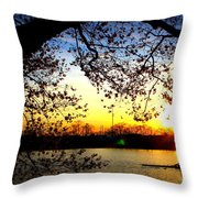 Cherry Blossoms On The Charles Throw Pillow