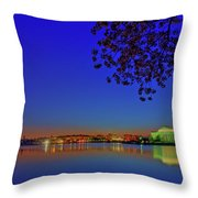 Cherry Blossoms Sunrise Throw Pillow
