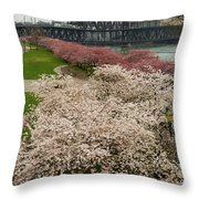Cherry Blossoms Trees Along Portland Waterfront Throw Pillow